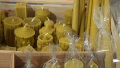 Decorative wax candle in candle workshop Stock Footage