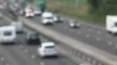Defocused cars on free way  with lights on Stock Footage