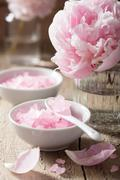 pink flower salt peony for spa and aromatherapy - stock photo