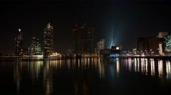 Rotterdam city skyline at night 03 Stock Footage