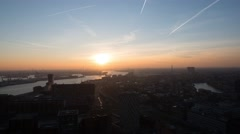 Rotterdam city skyline harbour sunset Stock Footage