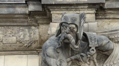 Male statue in Dresden Stock Footage