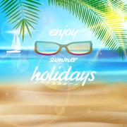 Stock Illustration of Seaside view poster with Sun glasses.