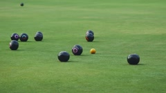 Lawn Bowling on Green Field - stock footage