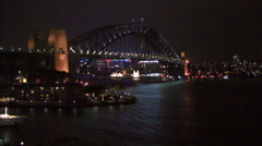 Sydney Harbor bridge at night Stock Footage