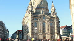 The Dresden Frauenkirche at Neumarkt Stock Footage