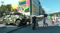 Armored car in the Maidan independence square Stock Footage