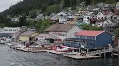 Seaplane dock on the sea - Ketchikan, Alaska Stock Footage