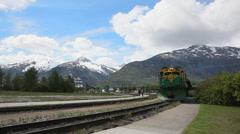 Alaskan railroad, white pass yukon train - train station of Skagway Stock Footage
