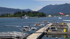 Seaplane dock terminal - Vancouver harbor Stock Footage