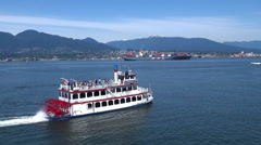 Steamboat floating on sea - Canada, Vancouver Stock Footage