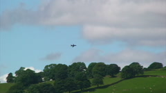 British fighter aircraft flying over Lake District National Park Stock Footage