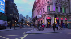 Great evening view of Shaftesbury Avenue at Picadilly Circus in London Westend Stock Footage