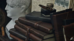 Leather bound journals Stock Footage