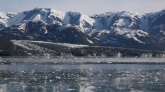 Icy Ocean - snowy mountains, glacier background Stock Footage