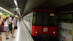 Barcelona subway Train arrives editorial HD Stock Footage