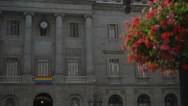 Stock Video Footage of Barcelona mayor building with gay acceptance flag HD