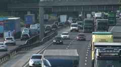 Traffic on two lanes of carriageway in England Stock Footage