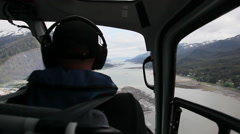 View from inside a flying helicopter - Alaska Stock Footage