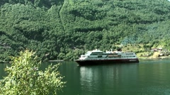 Europe Norway Geirangerfjord 018 Arrival of an Hurtigruten Post-Ship Stock Footage