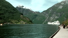 Europe Norway Geirangerfjord 015 seaside promenade of the village Stock Footage