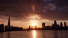 Stock Video Footage of Perfect Sunset with London Tower Bridge, Shard, Walkie Talkie