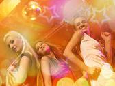 Stock Illustration of girls dancing in the night club .