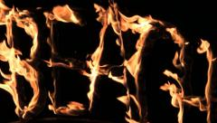 Burning inscription beach at night Flame Party Stock Footage