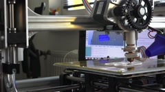 3d printer prints parts for homemade designs, top view Stock Footage