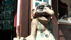 Europe Norway Geirangerfjord 026 Norwegian troll in front of a shop Stock Footage