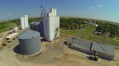 COOP Grain Elevator Aerial Stock Footage