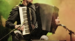 Close-up musician with accordion Stock Footage