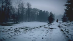 Immigrant walking in snow Stock Footage