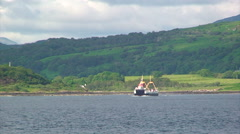 Ferry crossing loch from Lochaline terminal to Mull's Fishnish - stock footage