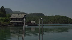 0132Norway lake bay boathouse Stock Footage