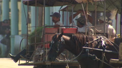 Horse buggies (taxis) waiting for customers Stock Footage
