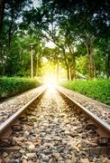 railroad transit the park - stock photo