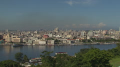 Top shot old Havana, river in foreground Stock Footage