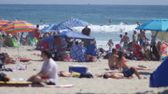 Pacific Beach crowd July 4 weekend 2 Stock Footage