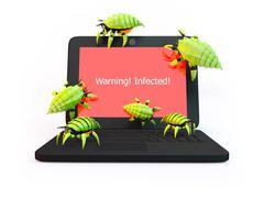 Viruses attack laptop Stock Illustration