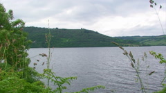 Loch Ness from Southern shore framed by ferns Stock Footage