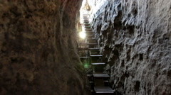 Stairs up to an old stone fortress in Saxon Switzerland Stock Footage
