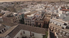 Aerial zoom out of old town, Seville - Spain Stock Footage