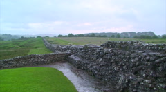 Hadrian's Wall in the rainfall, handheld Stock Footage