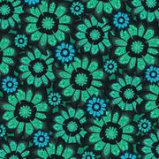 Feminine dark tones flowers pattern Stock Illustration