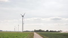 Wind energy on a field. - stock footage