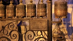Buddhist prayer wheels. Swayambhunath Stupa, Kathmandu, Nepal, Full HD Stock Footage