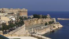 Blue sea and buildings Malta Stock Footage