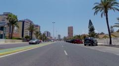 POV. Driving through Mar Menor sea tourist resort La Manga, Spain. Stock Footage