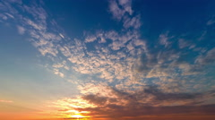 Colorful sunset with fast running clouds, timelapse, 4k+ Stock Footage